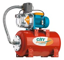 City Jet stainless steel pump above a 25 litre pressure vessel